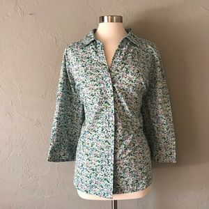 Basic Editions Floral Button Down Top